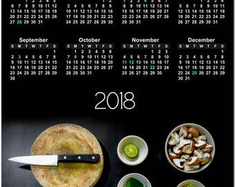 Ready to Cook? Bowls of Prepared Food  2018 Full Year View Calendar - Magnet, Print, Poster  #3844