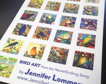 20 little Bird Stickers by Jenlo