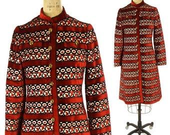 60s Sgt Pepper Velvet Coat / Vintage 1960s Psychedelic Novelty Opera Coat / Hippie Boho Mod Bohemian Long Warm Winter Tapestry Carpet Coat