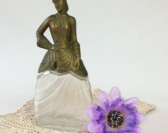 1930s Pinaud Perfume Bottle, Vintage Figural Scarlett O'Hara Gone With The Wind Collectible, Gold Painted Top
