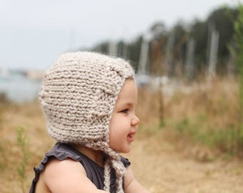 Cream Knit Baby Bonnet,Natural Winter Hat for Babies, Cozy Baby Hat for Winter, Chunky Knit Bonnet for Babies