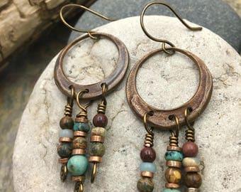Copper Hoop Earrings, Copper Dangle Earrings, Boho Earrings, Gypsy Earrings, Beaded Hoop Earrings, Boho Jewelry, Hoop Earrings, Earthy Beads