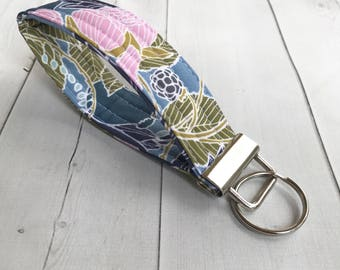 Floral Key Fob Wrist Strap Keychain Gift For Her Blue Key Holder Gift For Women Key Wristlet Key Chain Stocking Stuffer Gift Under 10