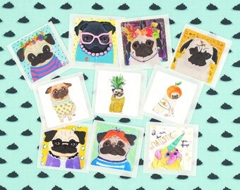 Hipster Stickers, Pug Dog Lover Gifts For Girls, Dog Stickers For Planners, Cool Stickers, Gifts Under 5, Best Dog Lover Gifts, Pug Stickers