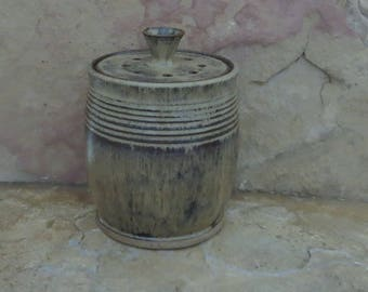 Compost Crock - Handmade Stoneware Ceramic Pottery - Burnt Iron Brown and Icy Blue - 1-1/2 quart