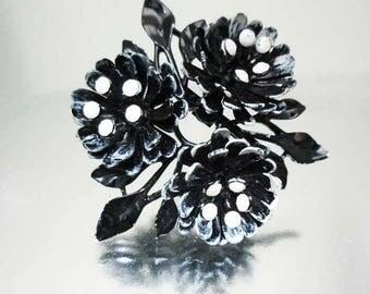Black & White Enamel Flower Brooch Pin White Milk Glass Stones