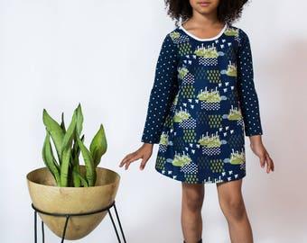 Navy long sleeved duck print dress girl toddler baby dress Supayana