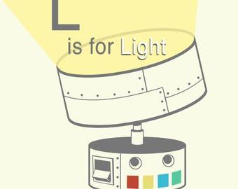 "Robot Alphabet Print - L is for Light, baby boy nursery, robot themed art, bathroom art, letter L art print, robot nursery print, 8"" x 8"""