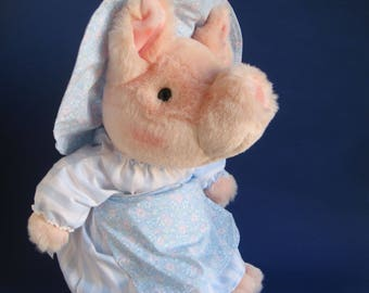 Vintage Aunt Pettitoes from Beatrix Potter book The Tale of Pigling Bland Stuffed Animal Eden Toys 1980s Toy Large Plush Sow Pig