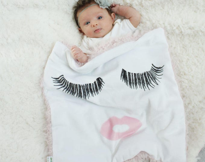 eyelashes and lips Baby Lovey Blanket faux fur minky READY TO SHIP baby gift cloud blanket llama newborn gift plush photo prop toddler child