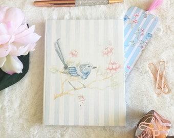 Hardbound Bluebird journal, dot grid journal, bullet journal, fairy wren journal, journal gift set, hardbound notebook, notebook gift set,