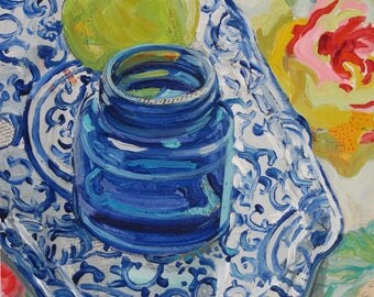 Phoenix Tray original blue and white framed still life painting by Polly Jones