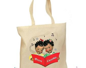"""Christmas Tote Bag - Christmas Gift Bag - """"Kids Christmas Choir"""" - Retro Gift Canvas Vintage Personalized Bag - African American Christmas"""