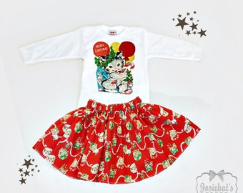 Christmas Outfit - Skirt Girl Red Christmas Kitty - Toddler Girl Baby Outfit - Vintage Kitten Skirt - 6m 12m 18m 2T 3T 4T 5 6 7 8 10 12
