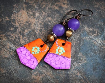 Purple orange earrings. Artisan made earrings. Colorful boho earrings. Polymer clay. Quartz and Solid copper. Abstract style.