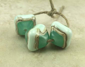 Mint Green Glass Crystal Shaped Beads - Light Pastel Chrysophase Color Silvered Ivory - Lampwork Bead Trio Set SRA - I ship Internationally