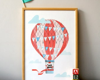 Hot Air Alphabet - A3 RISO print
