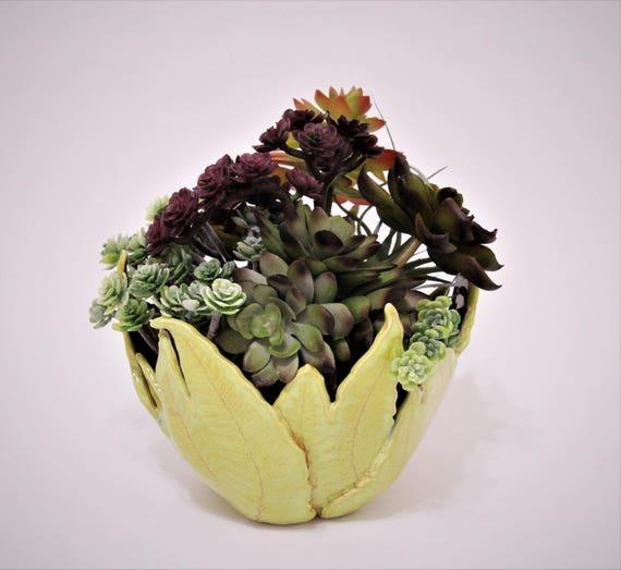Succulent Planter - Cactus Planter - Ceramic Planter - Candle Holder - Small Planter - Nature Pottery - Fern Pottery - Leaf Pottery