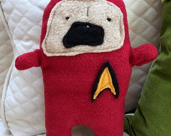 Captain Jean-Luc PugCard ~ The Star Trek Pug Bummlie ~ Stuffing Free Dog Toy ~ Ready To Ship Today