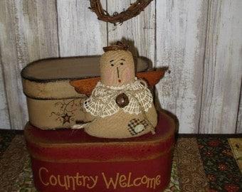 Primitive Country Angel Ornament Tuck Bowl Filler