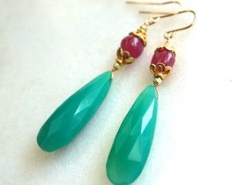 Dramatic Australian Chrysoprase, Pink Sapphire Drop Earrings....