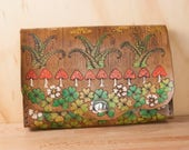 Waist Bag - Leather Convertible Clutch in the Ronja Pattern with Mushrooms and Ferns - Use as Clutch, Bum Bag, Crossbody or Wristlet