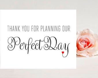 Wedding Planner Card- Card for wedding - Wedding Cards - Thank you for planning our Perfect Day