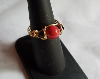 Coral and Jet Ring