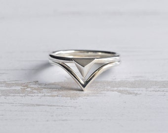 Sterling Silver Triangle and Chevron Stacking Rings - Thin Silver Rings - Skinny Rings - Textured Rings