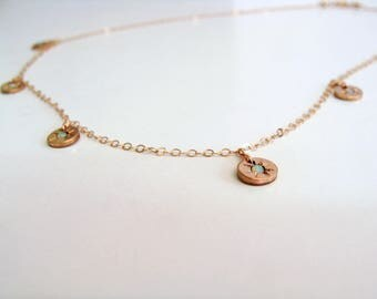 Rose gold filled opal Starry - eyed charm necklace