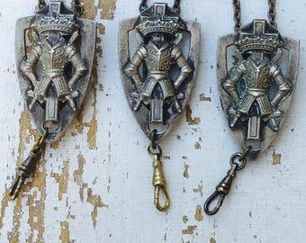 1 Antique steampunk Lanyard Necklace Masonic Knight Templar Sword Belt parts Regalia Pendant oxidized chain Masculine Men masons Runway C42