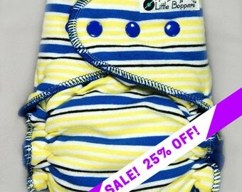 SALE! Custom Cloth Diaper or Cover - Blue Yellow and White Stripes - You Pick Size and Style - Made to Order Nappy or Wrap