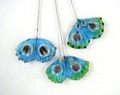 sra artisan lampwork glass ginko leaf headpins flameworked pattylakinsmith patty Lakinsmith matched pairs aqua lime handmade