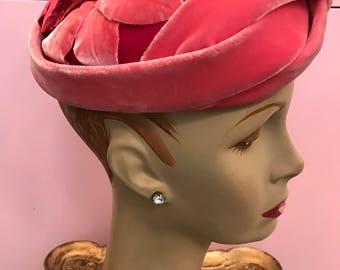 1950s hat pink hat velvet hat petal hat red hat vintage hat Marche' exclusive magenta hat 50s hat