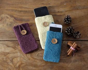 iPhone Gadget Case Organic Cotton Handmade Crochet