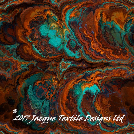 UNIQUE Handmade Turquiose Brown Velvet Upholstery Fabric Shimmer Fiber Art Fabric