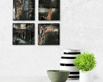 Set of 4 Abstract Black, Grays, Mixed Media art paintings on reclaimed wood, Pieces Of Beautiful Set 106-109 by Kathy Morton Stanion EBSQ