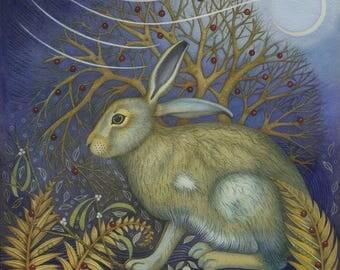 Fine art print of an original painting: 'Startled Hare'.