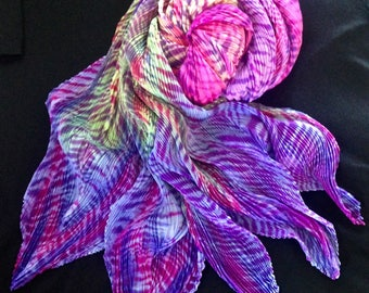Small World - Arashi Shibori Hand Dyed & Hand Pleated Silk Shawl/Scarf