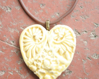 Pale Yellow Victorian Heart Porcelain Pendant