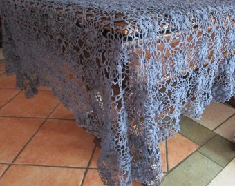 "Denim Blue Hand Crochet Cotton Tablecloth Rectangle 68""x45"" Lims Flowers"