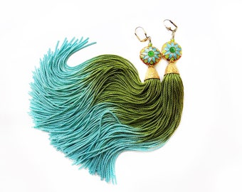 Tassel Earrings - Gypsy Earrings- Bellydance Earrings - Bohemian Earrings - Boho Jewelry- Festival Earrings - Hippie - Green Aqua  Blue Gold