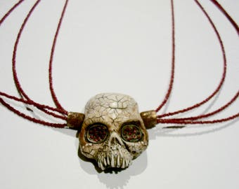 Voodoo, Skull, Vanuatu skull, Horror Sculpture, Witch, Tribal jewelry, Zombie Head Necklace
