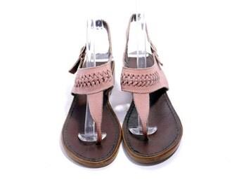 Size 7B// Vintage Pink Suede Flat Sandals//Summer Hippie Sandals// 70s Flat Slingbacks// 206