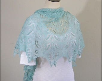 Lace Shawl - hand knittted wrap - icey baby blue scarf - crescent shaped