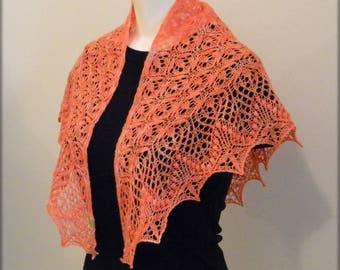 Hand Knit Lace Shawl - Scarf - Orange baby merino shawlette