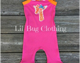 Giraffe Zoo Girls 1 Piece Outfit, Giraffe Zoo Summer Girls Romper, Custom Boutique Giraffe Zoo Romper, Toddler Girl Clothes
