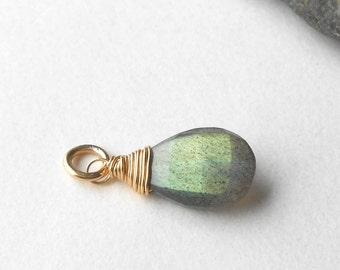 Labradorite Briolette, Wire Wrapped Gold Filled Gemstone Pendant Drop, Bead Charm