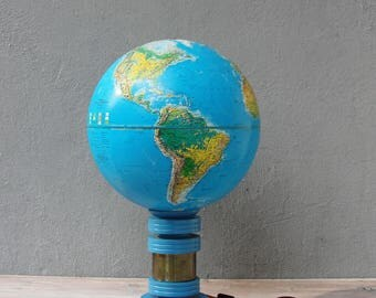 World Globe Lamp, Replogle World Horizon 1985 Globe Accent Lamp, Table Light, Geographic Lamp made with Vintage Globe, Educational Decor