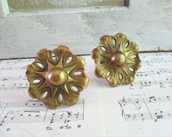 Pair of Vintage Brass Rosette Tie Backs